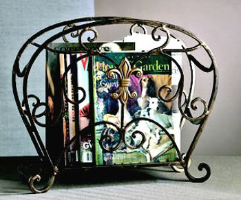 Bronze Iron with Brass Fleur De Lis Magazine Holder