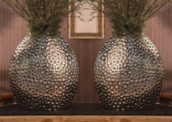 Nickel Pillow Dimple Aluminum Vase, Set of 2