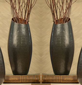 Tall Bronze Copper Vase, Set of 2