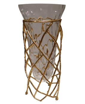 Antique Gold Twig Iron Vase