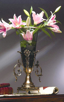 Antique Brass with Lined Glass Floating Vase