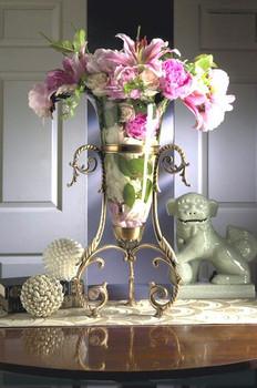 Antique Brass Curled Leg Floating Vase