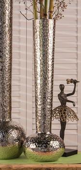 "24"" Nickel Hammered Water Mark Aluminum Vase"