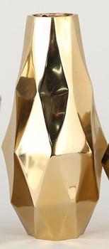 Tall Gold Angled Aluminum Vases, Set of 2