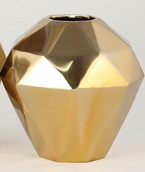 Gold Angled Aluminum Vases, Set of 2
