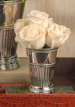 """4.5"""" Nickel Fluted Mint Julep Brass Cup, Set of 4"""