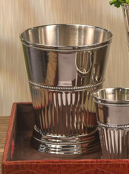 """7"""" Nickel Fluted Mint Julep Brass Cup, Set of 4"""