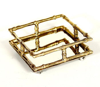 Gold Bamboo Cocktail Napkin Holders, Set of 4