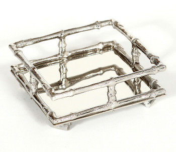 Nickel Bamboo Cocktail Napkin Holders, Set of 4