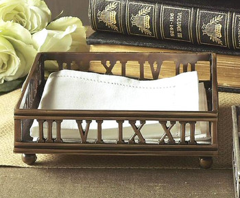 Antique Silver Roman Numeral Lunch Napkin Holder, Set of 4