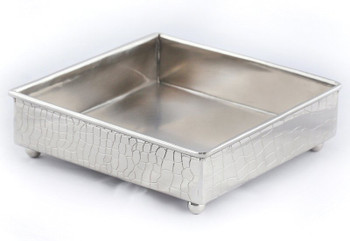 Nickel Crock Steel Square Lunch Napkin Holders, Set of 4