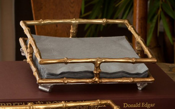 Gold Square Lunch Napkin Tray, Set of 4