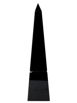 "10"" Black Crystal Groove Base Obelisk Sculptures, Set of 2"