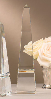 "12"" Crystal Groove Base Obelisk Sculpture, Set of 2"