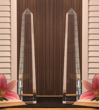 "16"" Crystal Obelisk Sculpture, Set of 2"