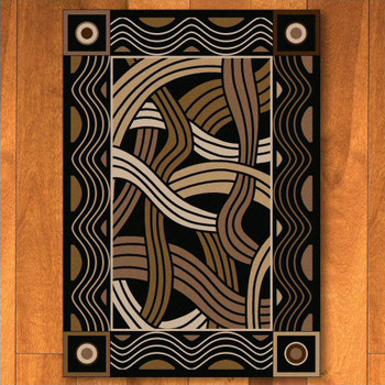 5' x 8' Hand Coiled Black Cherokee Inspired Rectangle Rug