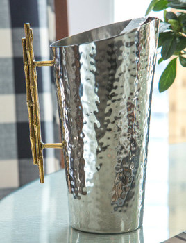 Nickel and Gold Bamboo Iron Pitcher, Set of 2
