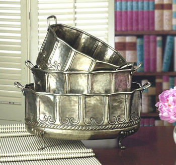 Antique Silver Embossed Footed Planters, Set of 3
