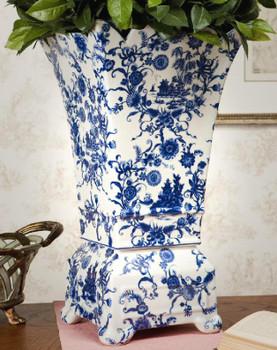 Blue and White Porcelain Planter Vase