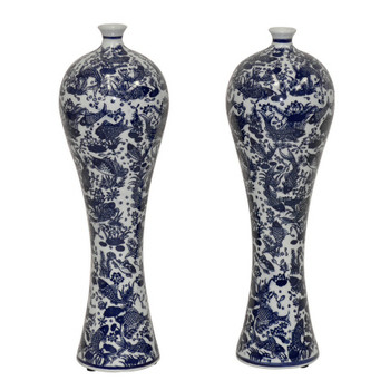 Blue and White Mei Ping Porcelain Vases, Set of 2