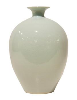 White Celadon Porcelain Vases, Set of 2