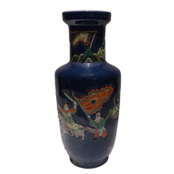 Blue Warrior Porcelain Vase