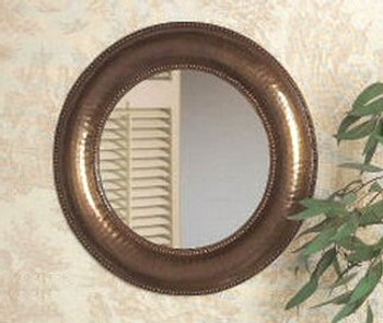 Antique Brass Hammered Round Wall  Mirror