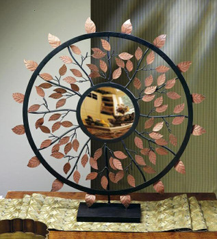 Bronze Iron Leaf Convex Mirror on Stand