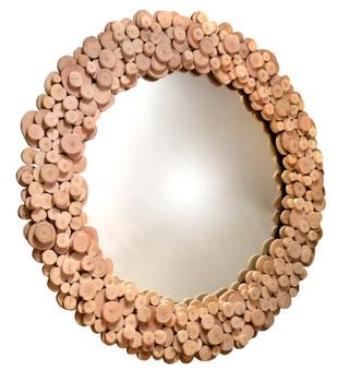 """33"""" Eucalyptus Wood Round Wall Mirror"""
