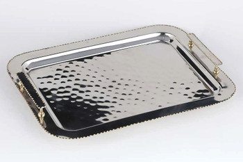 Nickel Gold Bead Steel and Brass Serving Tray with Rectangle Handles