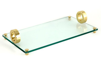 Rectangle Glass Serving Trays with Gold Ring Handles, Set of 2
