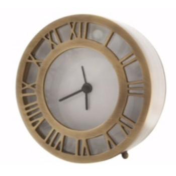 Antique Brass Roman Numeral Table Clocks, Set of 2