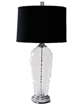 Spiral Glass Table Lamp with Black Shade