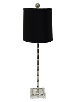 Nickel Bamboo Lucite Table Lamp with Shade