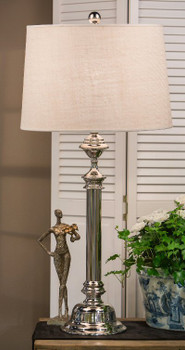 Nickel Step Base Aluminum Table Lamp with Shade