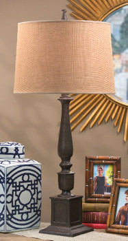 Bronze Rough Cast Aluminum Table Lamp with Shade