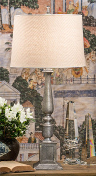 Nickel Rough Cast Aluminum Table Lamp with Shade