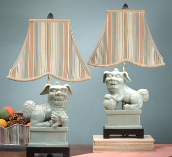 Celadon Foo Dog Lamps with Striped Shade, Set of 2