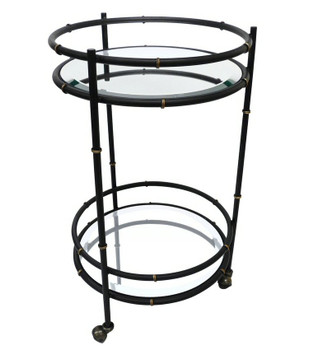 Black and Gold Round Bamboo Iron Beverage Tea Cart with Mirror Glass