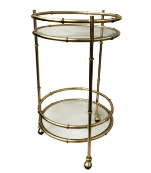 Gold Bamboo Round Iron Bar Cart