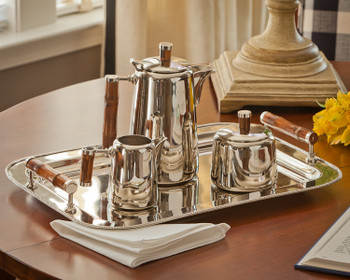 Nickel Tea Set with Bamboo Handles, Set of 4