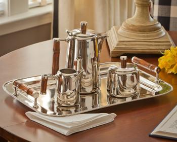 Nickel Tea Set with Bamboo Handles, Set of 3