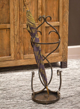 Bronze Flair Scroll Iron Umbrella Stand