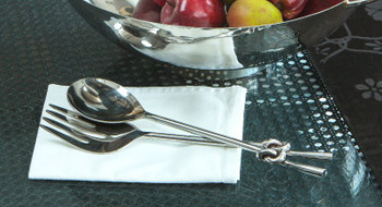 Nickel Knot Iron Salad Fork & Spoon Utensils, Set of 4