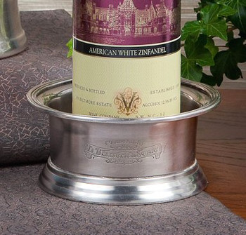 Antique Silver Crest Wine Bottle Coaster, Set of 6