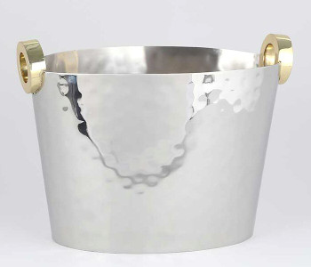 Nickel Wine Bottle Bucket Cooler with Gold Ring Handles