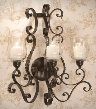 Bronze Iron Three Light Acanthus Wall Sconce