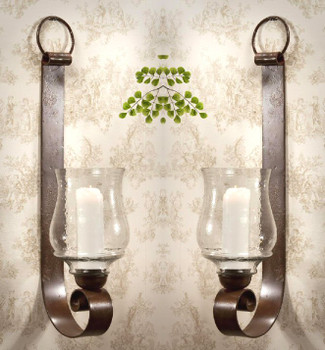 Bronze Iron Loop Wall Sconce with Hammered Globe, Set of 2