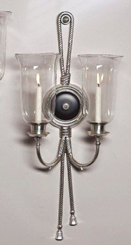 Antique Silver and Black Two Light Hurricane Wall Sconce