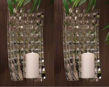 Geometric Rectangle Aluminum Wall Sconce, Set of 2